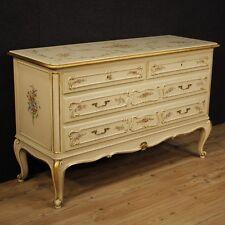 Comò cassettone in legno laccato mobile stile veneziano antico cassettiera 900