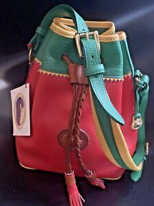 Dooney & Bourke Teton Drawstring Bag Tri-Color RED YELLOW GREEN - NOS - MINT