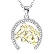 Pferd Pferdekopf 2 Pferde mit Hufeisen Anhänger Kette Sterling Silber 925