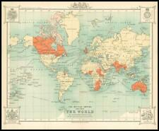 c1912 THE BRITISH EMPIRE throughout the WORLD MAP Mercators Projection (BS4)