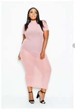 Plus Size All Mesh Black / Pink Long Maxi Back Zipper Sheer Cover Dress 1X 2X 3X