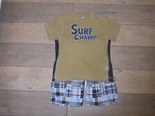 Gymboree Baja Surf blue & green madras shorts with Surf Champ shirt set size 5