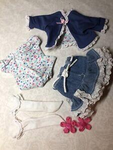 "16"" Artist Made MSD BJD Kish Tonner Sized Doll Outfit Denim Skirt Shirt Bows I27"