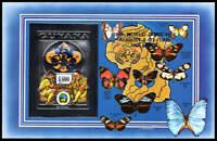 GUYANA 1995 Scouts. Chess. Butterflies. Imperf Silver SS. Blue Overprint. VF!