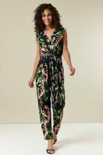 ex Wallis Tropical Print Wrap Belted Pockets Tapered Leg Jumpsuit