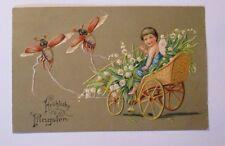 """Pfingsten, Elfe, Engel, Maikäfer, Maiglöckchen"" 1907, Prägekarte ♥ (39423)"