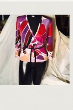 Emilio Pucci 100% Cashmere Wrap Around Sweater Gorgeous Multicolored Size 8🎈
