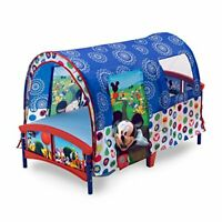 Cute & Durable Mickey Mouse Themed Tent Bed for Toddlers w/ Mesh Window & Rails