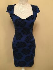 Jane Norman blue rose stretchy vintage galaxy wiggle bodycon party dress Size 10