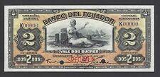 Ecuador Banco Del Ecuador 2 Sucre 2-1-1911 Ps157 Back Brown Specimen UNC