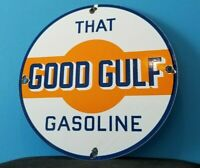 VINTAGE GULF GASOLINE PORCELAIN GAS OIL SERVICE STATION PUMP PLATE OIL RACK SIGN