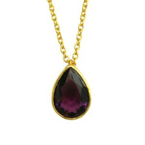 Amethyst Quartz Pear Shape Yellow Gold Plated Necklaces For Women Girls
