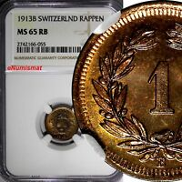 SWITZERLAND Bronze 1913 B 1 Rappen NGC MS65 RB NICE RED TONING KM# 3.2 (055)