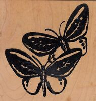 """butterflies bugawumps Wood Mounted Rubber Stamp  3 1/2 x 3 1/2""""  Free Shipping"""