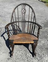 Antique Windsor Rocking Chair, Original Rush Seat