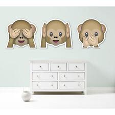 Emoji emoticons three monkeys see hear speak no evil giant wall sticker decal