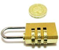 Brass Combination Padlock 20mm Lock Lockers Toolbox Suitcases Etc LK054