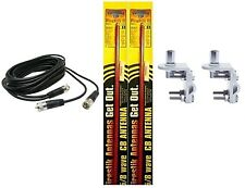NEW 2 FIRESTIK 2 FS3 R 3FT RED CB ANTENNAS, 18FT DUAL COAX, BRACKETS & STUDS