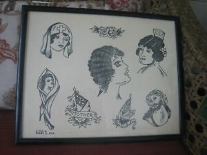 Vintage 1940's C.T.S.H. Production Tattoo Flash...14'' x 11''...Series C/ No. 3