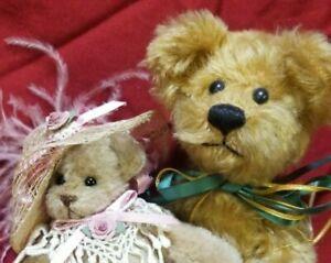 """Lot of 2 artist teddy bears Lynn Lumley & Karla Singer 7"""" 9"""" mohair"""