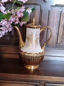 "Vintage Crown Devon Fieldings Large Coffee Pot White & Gold Lustre Rose H 11½"""