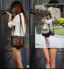 Brown leather retro camera bag for Canon Nikon Sony Samsung