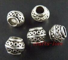 80pcs Tibet Silver Bail Style Big Hole Spacers 8.5x7mm 586