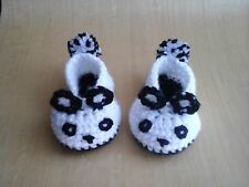 Handmade crochet knitted baby panda slippers black-white for 0-3months old baby