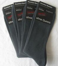 4 Paar Herren Socken ohne Gummi 1/1 Rippe 100% Baumwolle dunkelgrau XXL 47 - 50