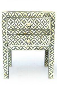 Abacus & Hunt Bone Inlay Bedside Table in Grey Geometric Pattern