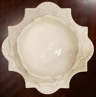 3 Rare Vintage Antheor France Plates Ivory Scalloped Beaded French-Provincial