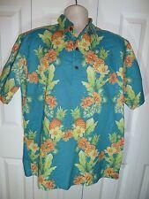 Reyn Spooner Joe Kealuka's Button Pullover Hawaiian Shirt Turquoise Florals  Lg