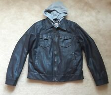 Levis Faux Leather Jacket Fleece Hooded Coat Medium Mens Clothing Excellent Cond