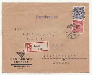 R-Brief Breslau 4  518 Max Berger Breslau Wrocław polska Schlesien 1924 !
