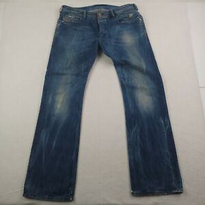 Diesel Zatiny Jeans Mens 36x36 Button Fly Distressed Italy Made Blue Medium Wash