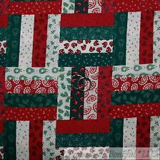 BonEful FABRIC FQ Cotton Quilt Red Green White Xmas Patchwork Stripe Calico Sale