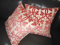Throw pillow covers designer cut velvet fabric scroll leaves salmon beige PAIR