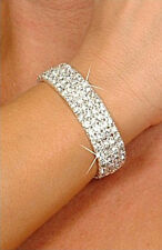 4 Rows Silver Plated Rhinestone  Bracelet Clear  CZ 6.5 Inches