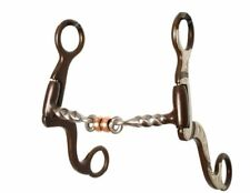 """Showman BROWN Steel SILVER BIT 5"""" Slow Twisted Mouth with Center COPPER Rollers"""