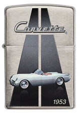 Zippo Chevrolet Corvette 1953 C1 brushed Chrome Custom Lighter Very Rare NEW