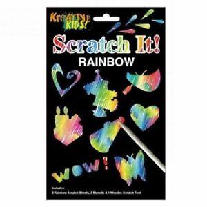 SCRATCH IT! RAINBOW CHILDRENS CRAFTS CREATIVE ENGRAVING STENCIL KIT ACTIVITY FUN