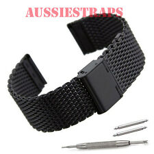18mm PVD BLACK SHARK WIRE MESH BRACELET WATCH BAND Strap for Seiko and Casio