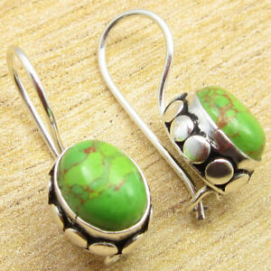 """925 Silver Plated Green Copper Turquoise Accessories Gifts Earrings 0.9"""" NEW"""