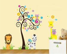 Animals Owls Lion Tree Giraffe Children's Wall Art Stickers Decals Huge Sheets