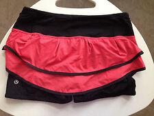 Lululemon Speed Squad Skirt Red Black Deauville Stripe Ruffle size 8