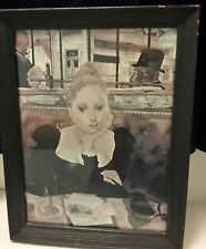 Cafe' By Tsuguharu (Leonard) Foujita Framed art Print of Woman Signed 1949