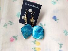 Shell Petal Pearl Turquoise Coloured Hook Earrings In Gold Plated S/Steel