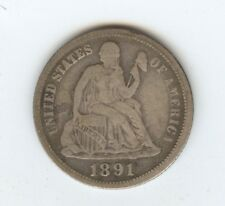 1891-O/O Seated Dime (#9632) Abt. Fine. Struck from Shattered Dies.