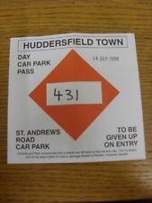 14/09/1999 Ticket: Huddersfield Town v Notts County [St Andrews Road Car Park Pa