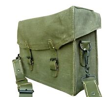 Vintage French army canvas messenger shoulder bag satchel military leather large